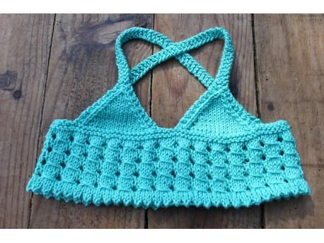 Aqua Lemon, le top d'été tricoté en coton pour fillette