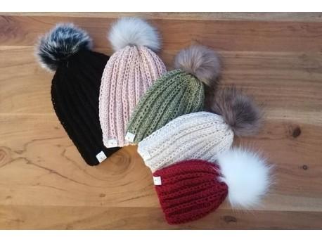 "Kit- Tricot bonnet Naissance-""Trop-Chou"""
